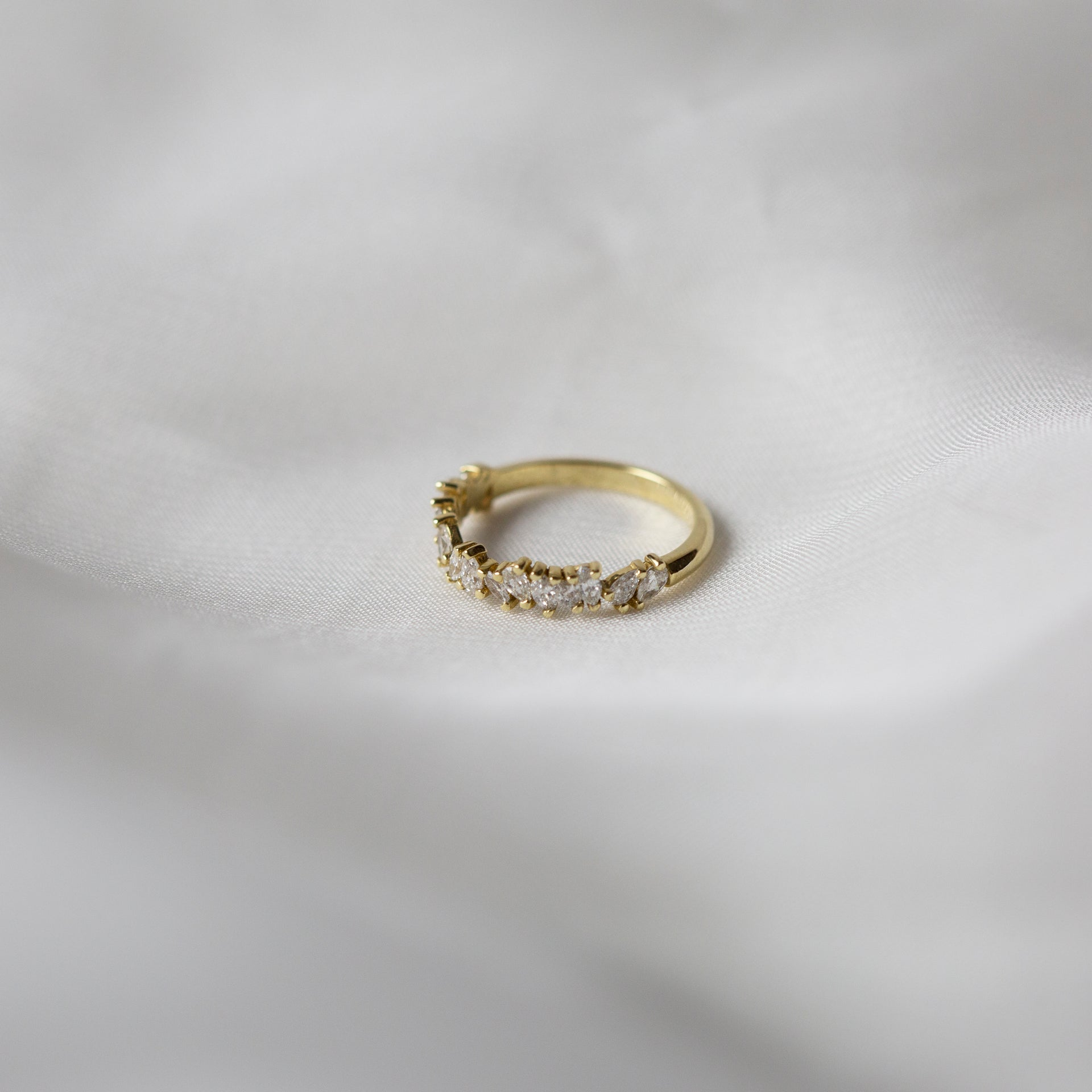 Petite Marquise + Pear Half Eternity Ring
