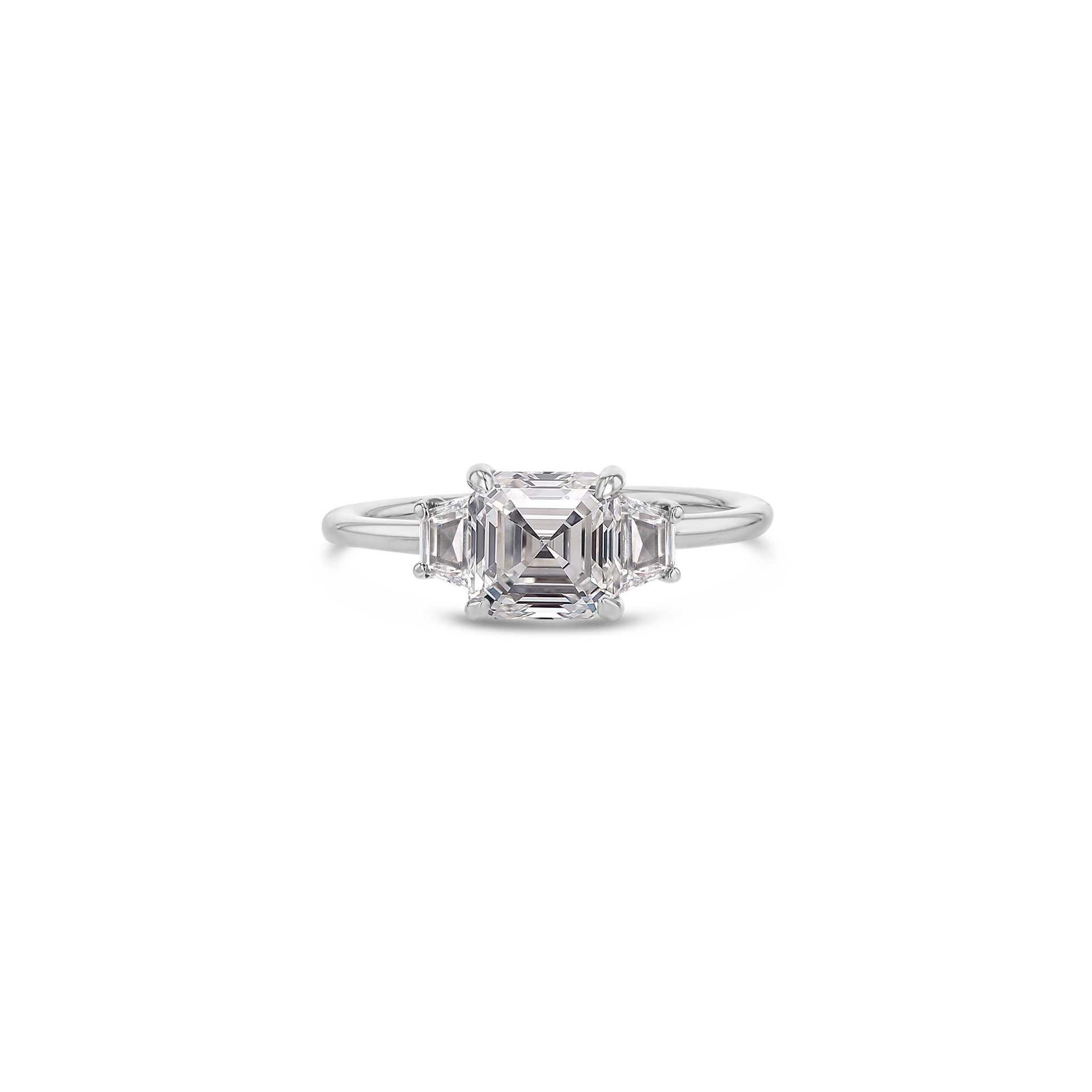 Asscher with Trapezoids Triple Diamond Ring