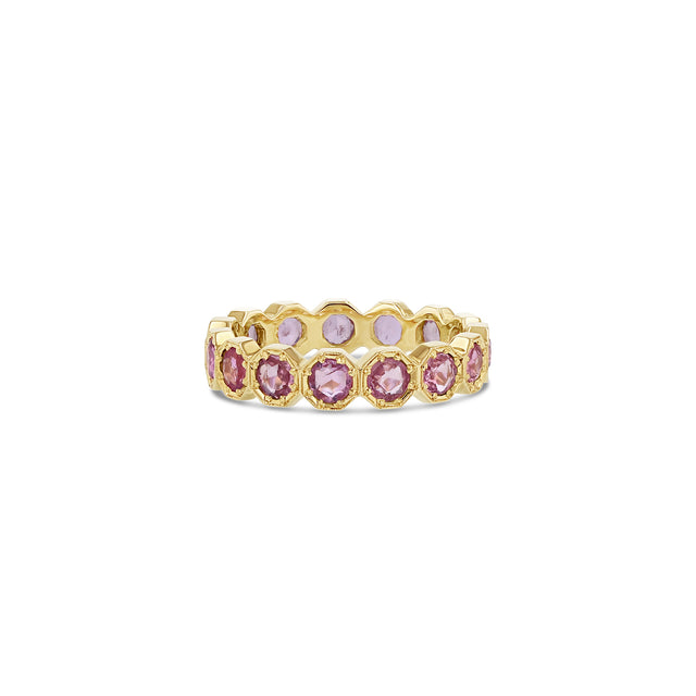 3mm Crown Bezel Pink Sapphire Eternity Ring