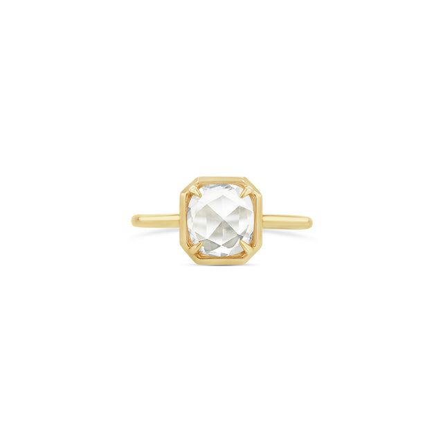 Oval Rose-Cut Diamond Octagonal Bezel Ring