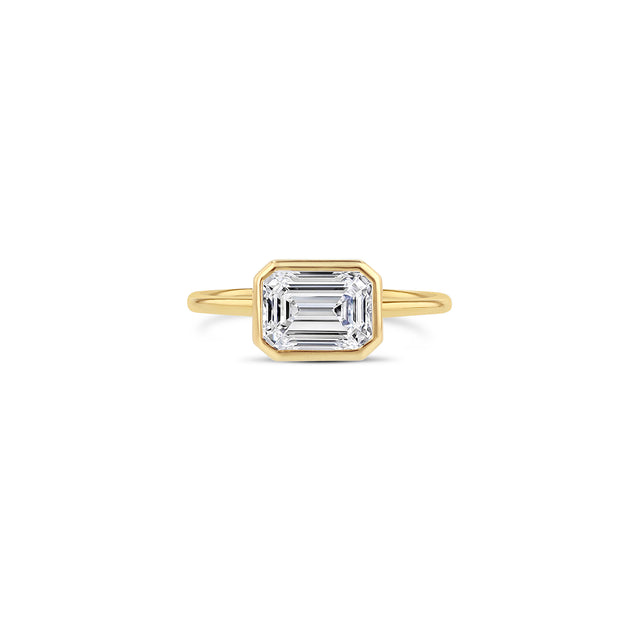 East-West Emerald-Cut Diamond Bezel Ring