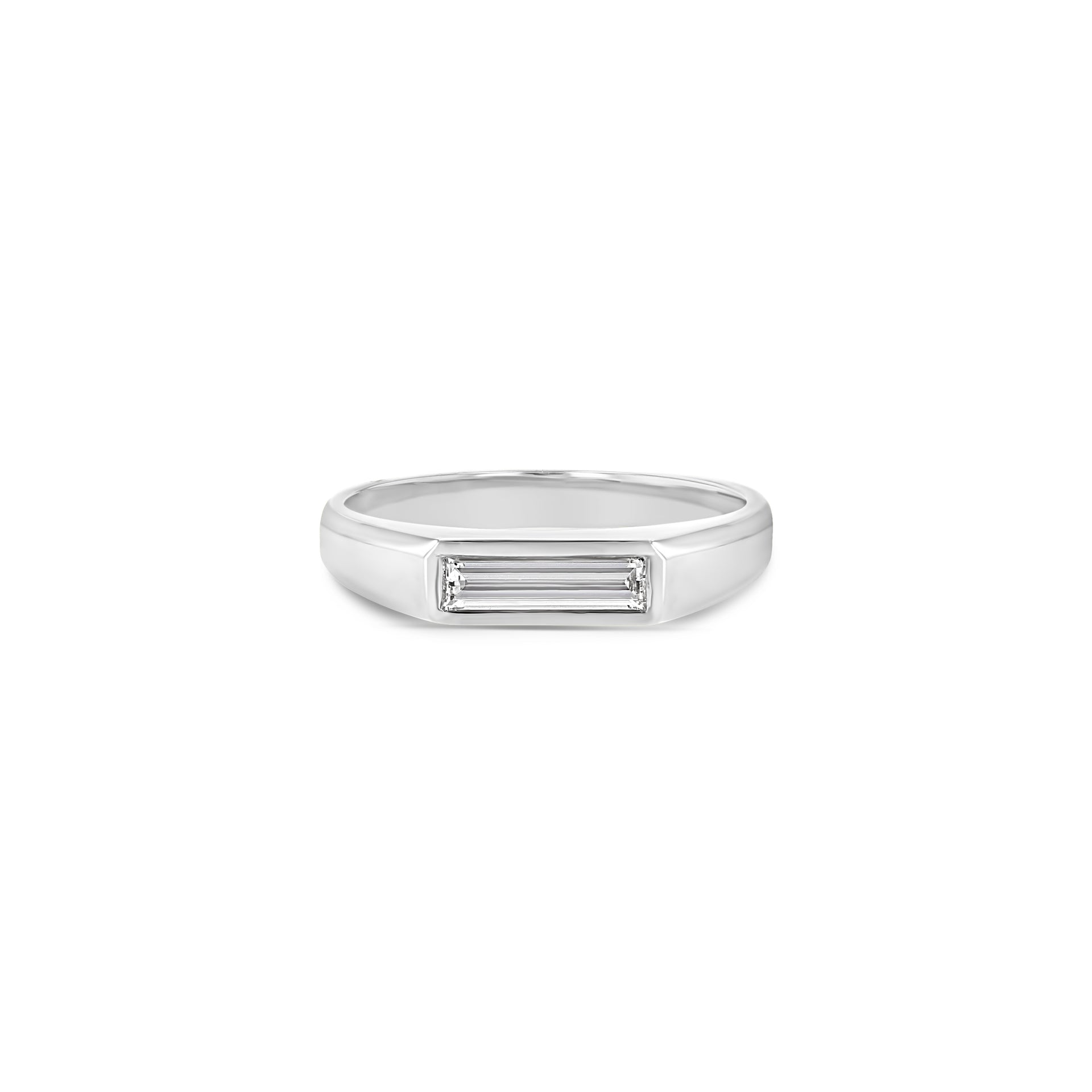 Diamond Baguette Signet Ring - Small