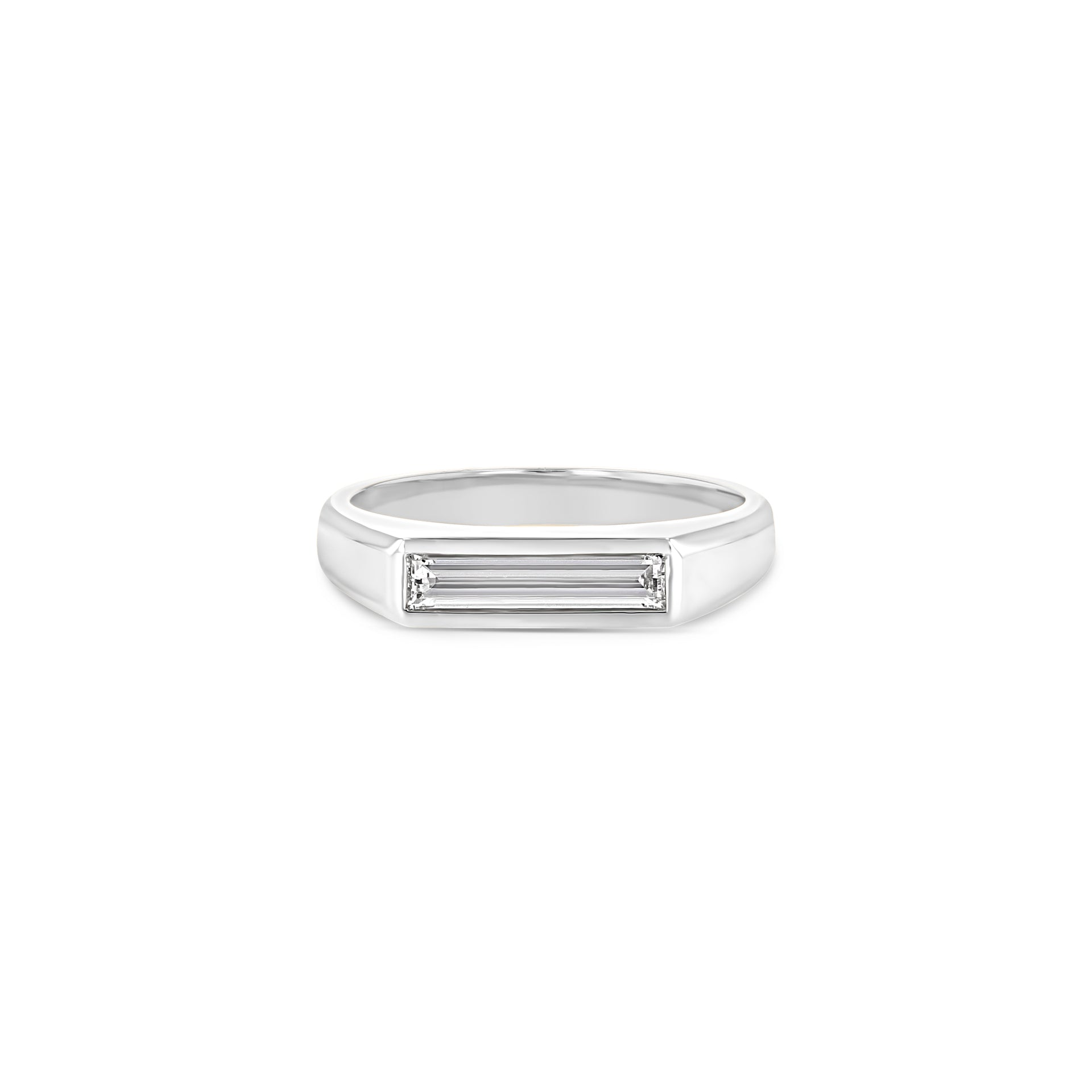 Diamond Baguette Signet Ring - Large