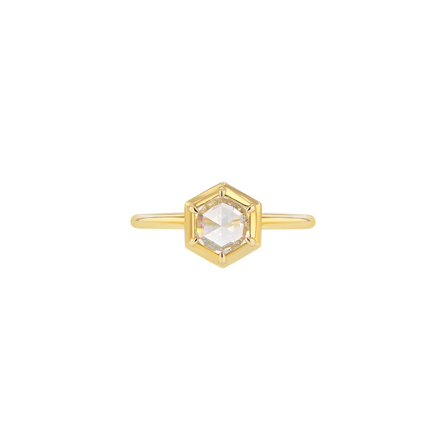 Hex Rose-Cut Diamond Bezel Ring