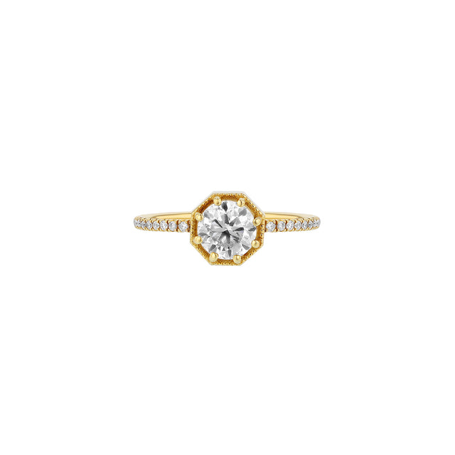 Crown Bezel Round Diamond Half-Eternity Ring
