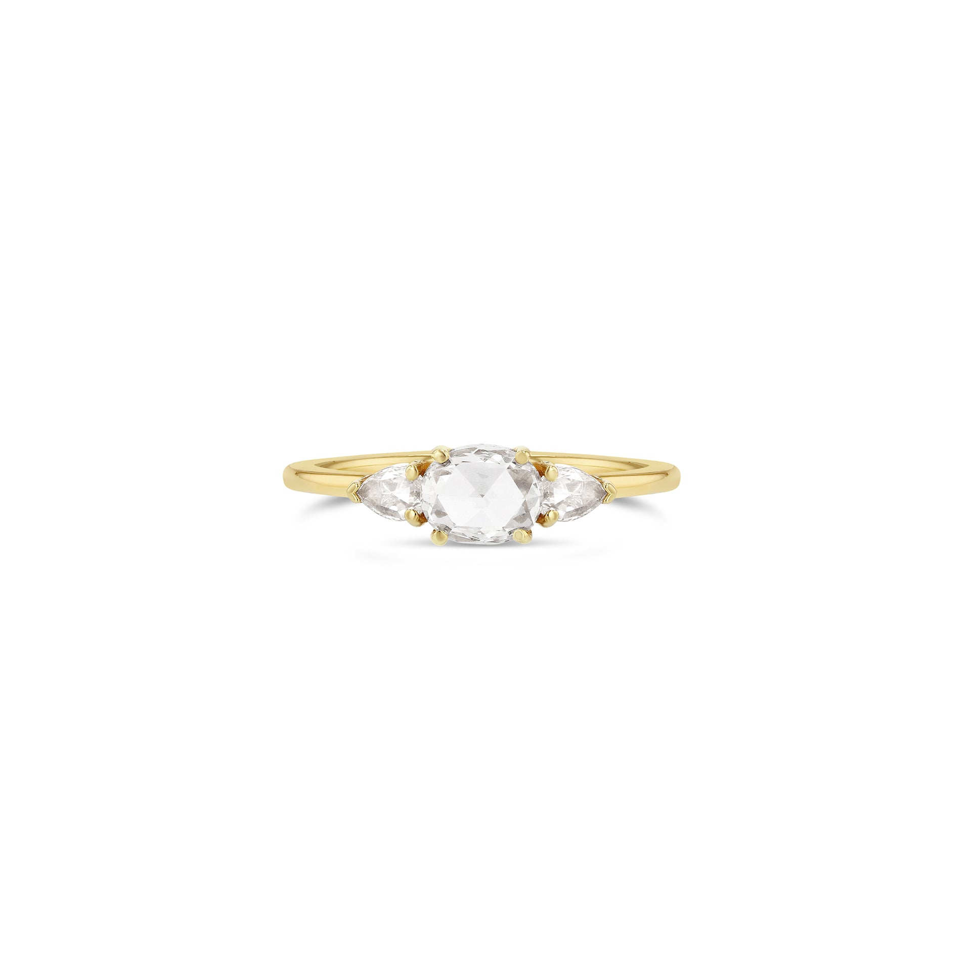 East-West Oval Rose-Cut with Pears Triple Diamond Ring