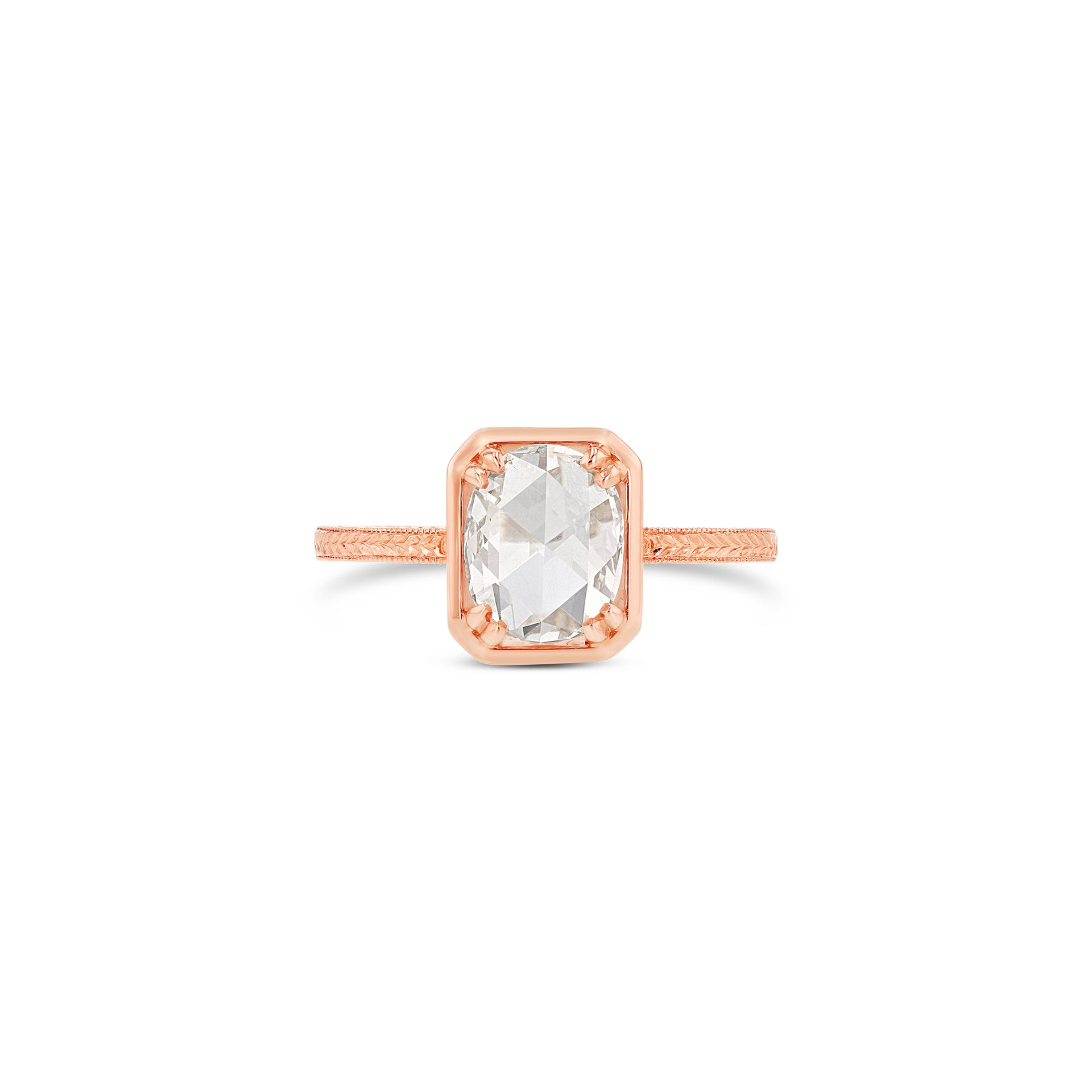 Oval Rose-Cut Diamond Octagonal Bezel Ring with Engraved Band