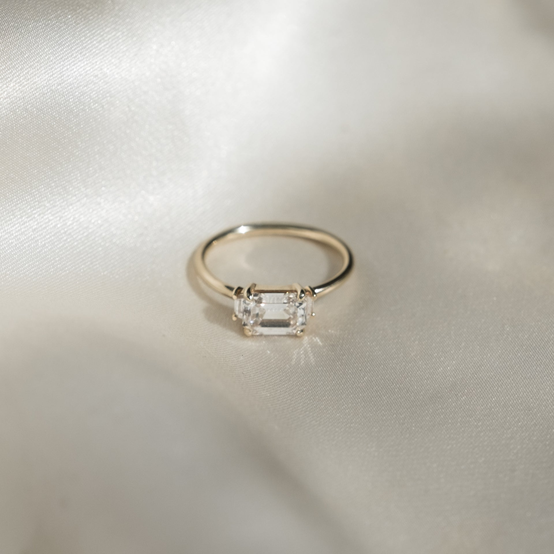 Emerald-Cut Diamond Triple Ring