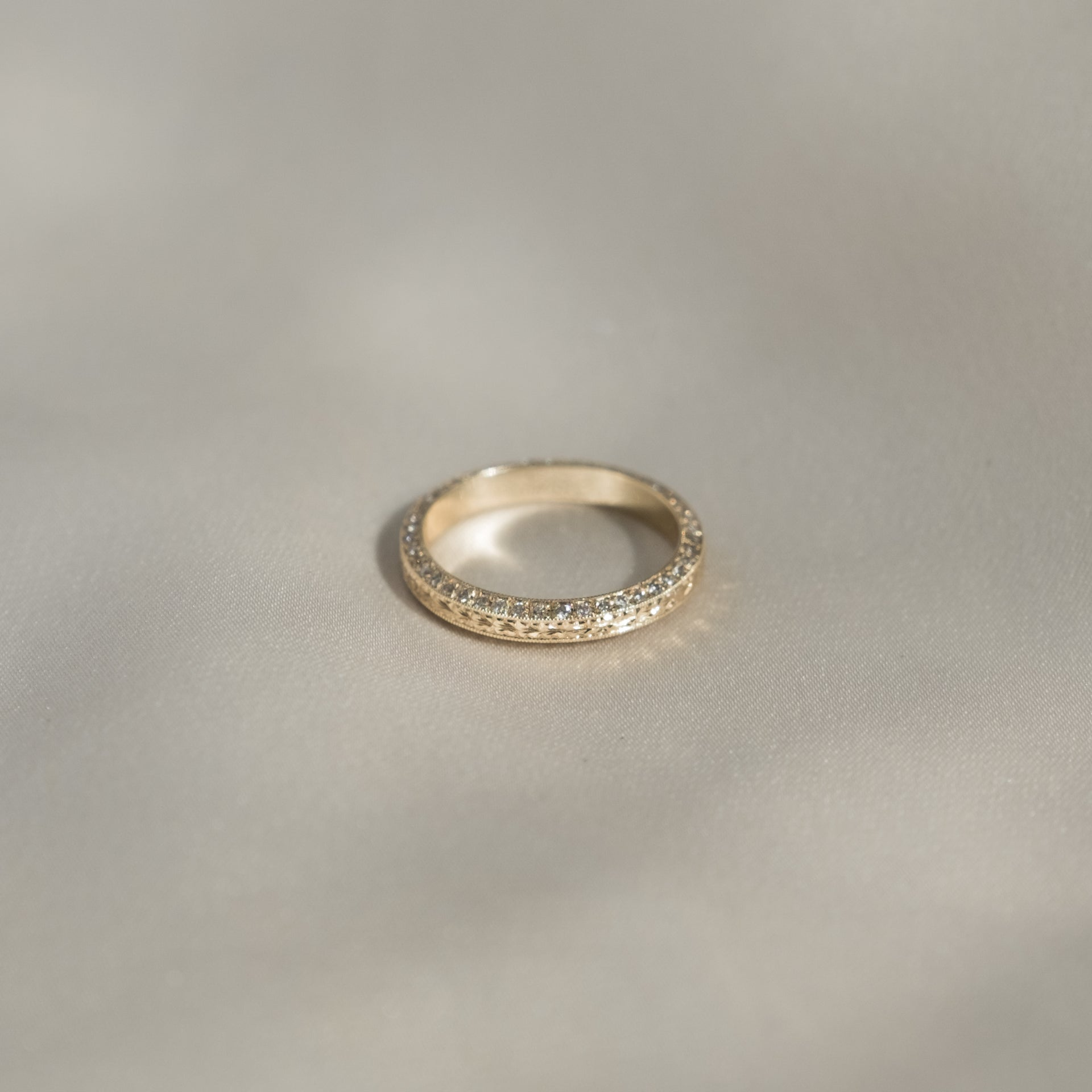 Engraved Angled Band with Diamond Sides