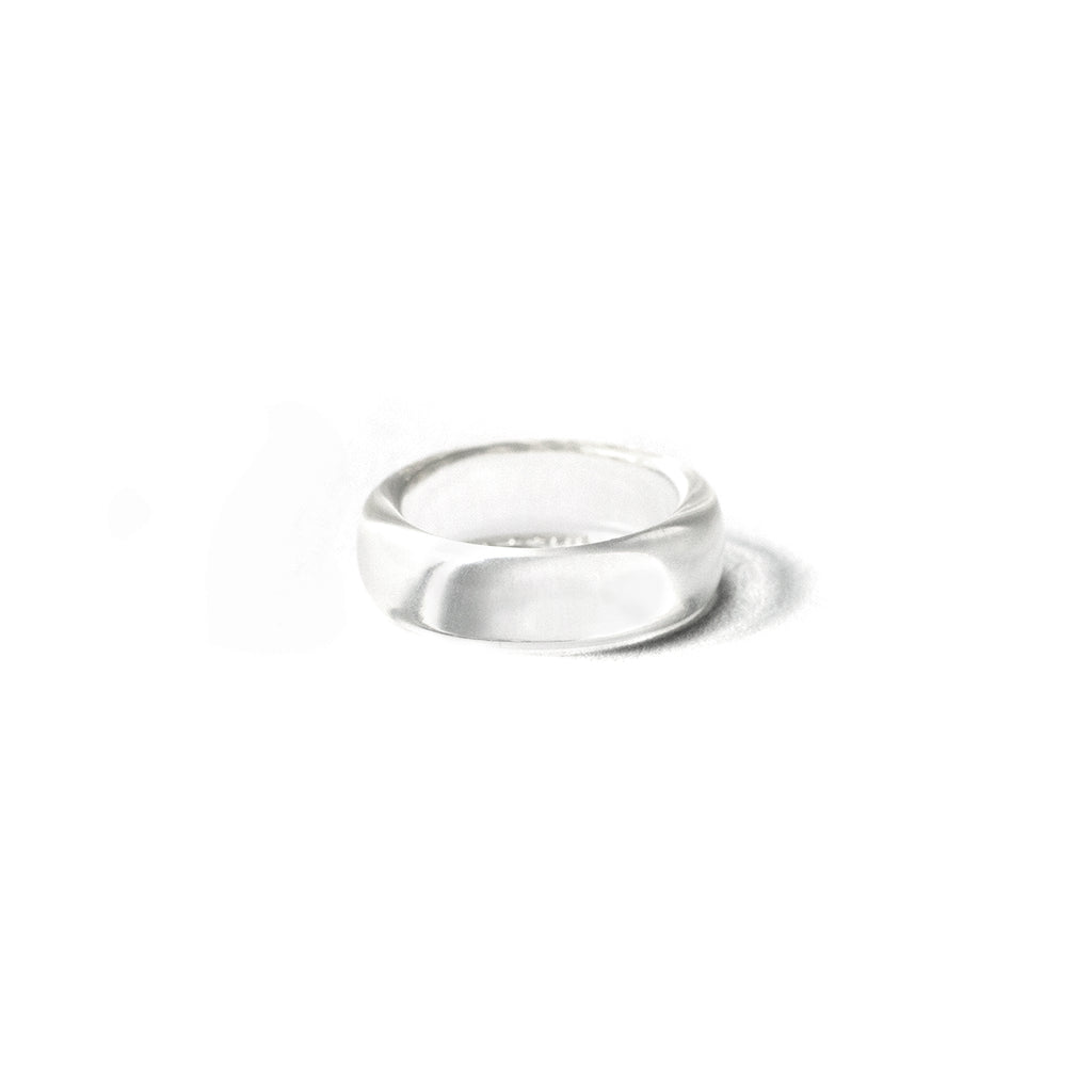 White and silver resin ring stackable