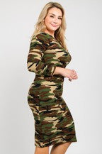 Camouflage Print Body-con fit Dress - LSM Boutique's Fashion N Fragrances