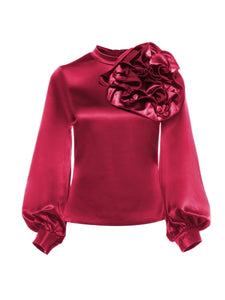 Women's Cherry color Big Flower Rose Blouse - LSM Boutique's Fashion N Fragrances