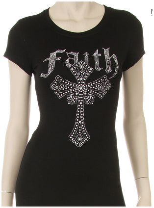 Women's Faith Rhinestone Clear Cross Shirt - LSM Boutique's Fashion N Fragrances