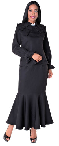 Ladies 2 piece Ruffle Clergy Collar Skirt Set- Black - LSM Boutique's Fashion N Fragrances