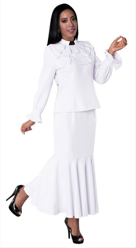 Ladies 2 piece Ruffle Clergy Collar Skirt Set- White - LSM Boutique's Fashion N Fragrances