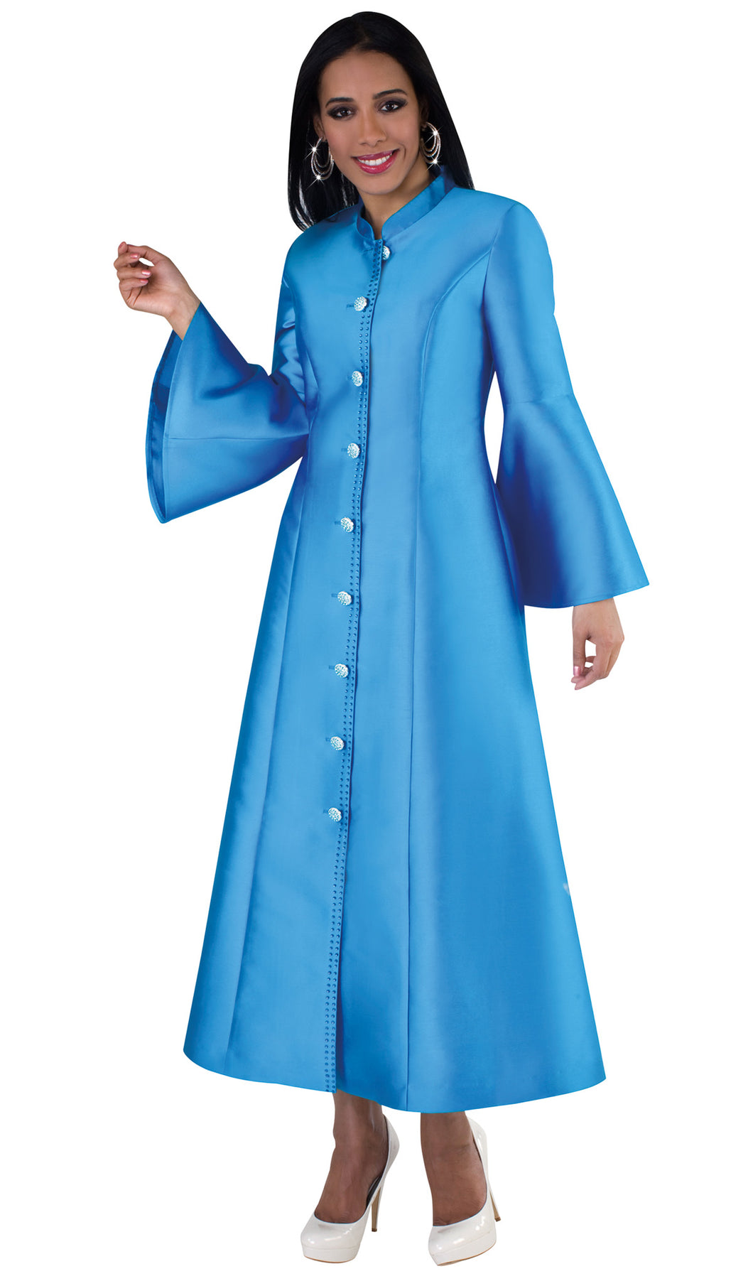 Women's 1pc Designer Robe Exclusive Silk With Flare Sleeves Blue