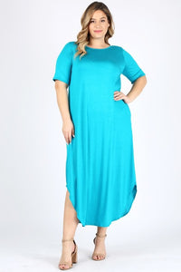 Plus Sz Turquoise Color Maxi Dress 1X2X3X - LSM Boutique's Fashion N Fragrances