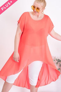 Plus size solid Fit n Flare short sleeve hi-lo Coral Tunic top 1x2x3x - LSM Boutique's Fashion N Fragrances