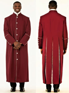 Men's Burgundy & Silver Clergy Robe...brilliant finish - LSM Boutique's Fashion N Fragrances