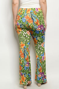 Plus Size Animal Print Green/Orange Pants 1X2X3X