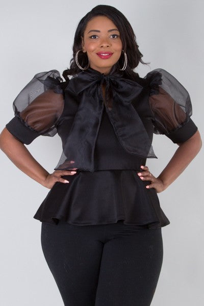 Plus Size Sheer Fashion Puff Sleeve Blouse - LSM Boutique's Fashion N Fragrances