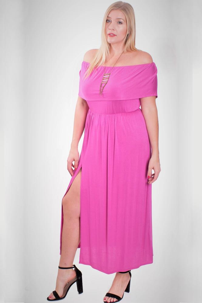 Plus Size Pink Off Shoulder Maxi Dress