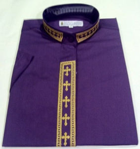 Women's Short-Sleeve Purple Clergy Shirt With Fine Embroidery SALE! - LSM Boutique's Fashion N Fragrances