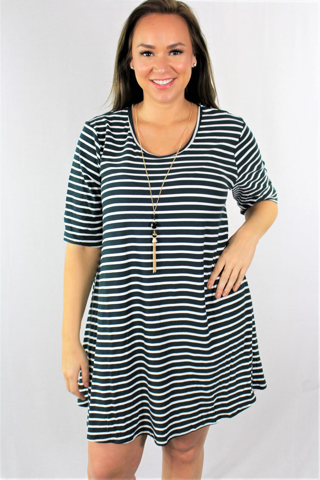 Plus Size Elbow Sleeve Striped Dress 1x2x3x - LSM Boutique's Fashion N Fragrances