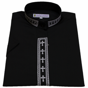 Women's Short-Sleeve Black Clergy Shirt With Fine Embroidery SALE! - LSM Boutique's Fashion N Fragrances