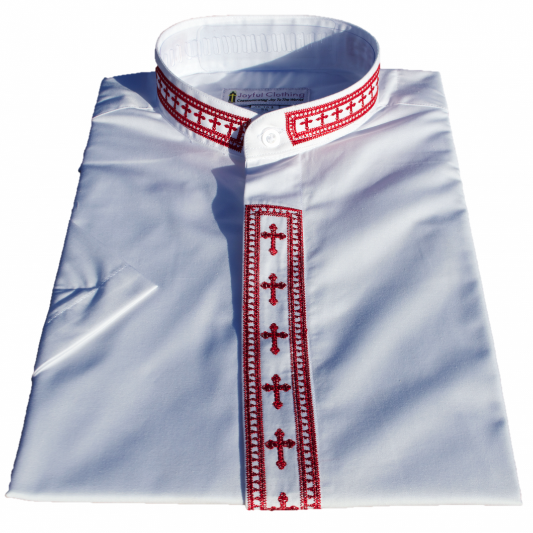 Women's Short-Sleeve White Clergy Shirt With Embroidery - LSM Boutique's Fashion N Fragrances
