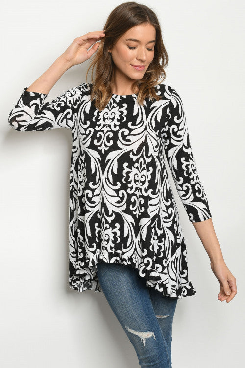 Women's Plus Size Black and White design Top 1XL-3XL - LSM Boutique's Fashion N Fragrances