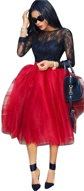 Women's Red Princess A Line Tulle Skirt - LSM Boutique's Fashion N Fragrances