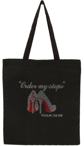 Women's Order My Steps Rhinestone Tote bag  Psalm 119:133 - LSM Boutique's Fashion N Fragrances