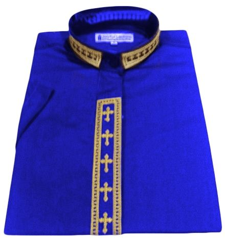 Women's Short-Sleeve Royal Clergy Shirt With Fine Embroidery SALE! - LSM Boutique's Fashion N Fragrances