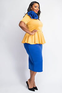 Plus Size Peplum short sleeve dress XL-2X FLASH SALE!