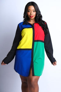 Plus Size Color-Block Shirt Dress 1X2X3X