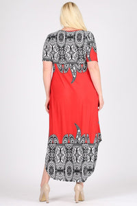 Plus Size Border Print Maxi Dress 1x2x3x - LSM Boutique's Fashion N Fragrances