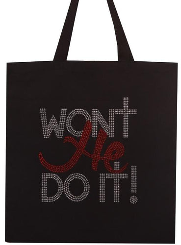 Women's Won't He Do it Rhinestone Tote Bags - LSM Boutique's Fashion N Fragrances