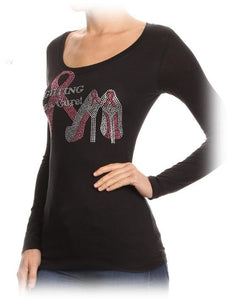 Women's Fight for the Cure Rhinestone Studded Shirt - LSM Boutique's Fashion N Fragrances