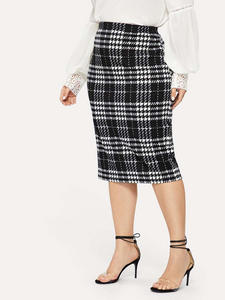 Women's Elegant Plaid Print Body-con Skirt - LSM Boutique's Fashion N Fragrances