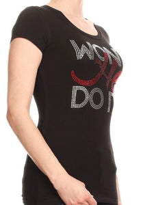 Plus Rhinestone fitted Won't He Do it Tee - LSM Boutique's Fashion N Fragrances