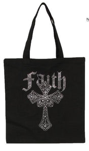 "Women's Rhinestone ""FAITH"" Totebag - LSM Boutique's Fashion N Fragrances"