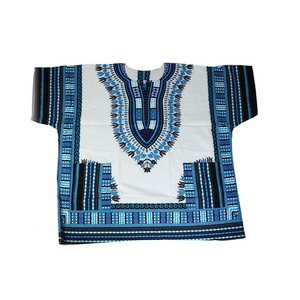 Men's White and Blue Dashiki 1X2X3X - LSM Boutique's Fashion N Fragrances