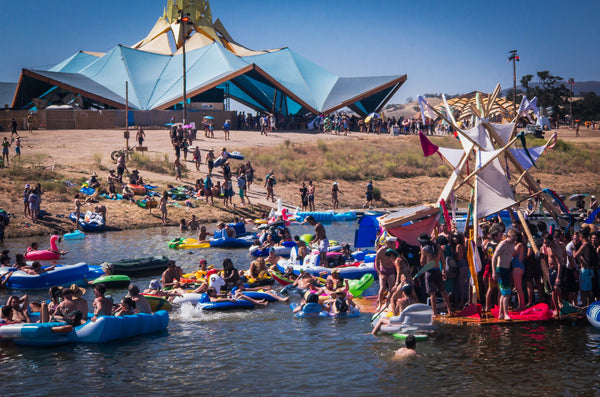 Swimming at lightning in a bottle music festival on the central coast of California
