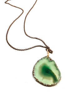 Green Agate Geode Necklace
