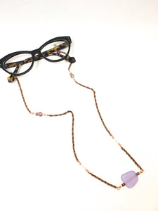 Statement sunglass strap, sunglass chain, eyeglass holder, croakies made with purple sea glass and copper-plated chain.