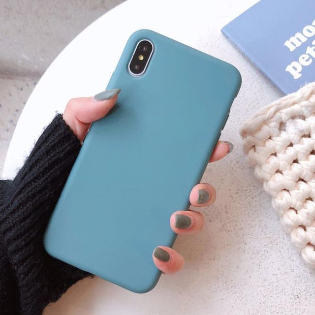 Moskado For iPhone 7 Phone Case Simple Solid Candy Color For iPhone 11 Pro X XR XS Max 6 6s 8 Plus Silicone Soft TPU Back Cover