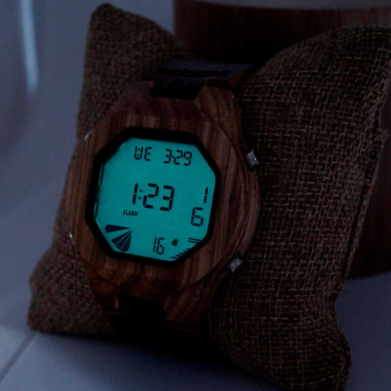Wooden Digital Watch with Genuine Leather Band