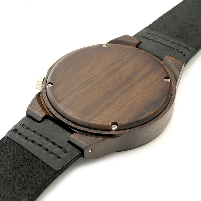 Classic Analog Wooden Watch with Genuine Leather Band