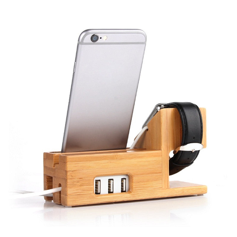 Bamboo Charging Cradle Stand for Apple Watch and iPhone with USB Ports